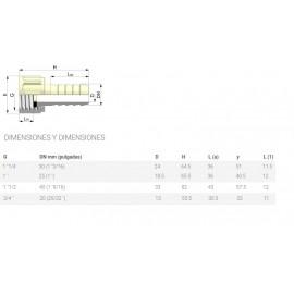 Espiga plástico hembra de 3/4 para manguera de 20 mm con junta