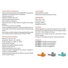 "Aspersor VYR-802 Con Pala Sectorial De Plástico 1/2"" Macho Vyrsa"