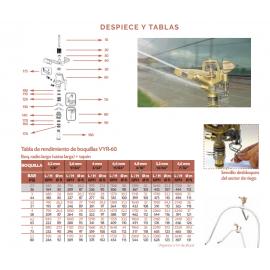 """Aspersor VYR-60 Latón Sectorial Con Tornillo Difusor 3/4"""" Macho Vyrsa"""