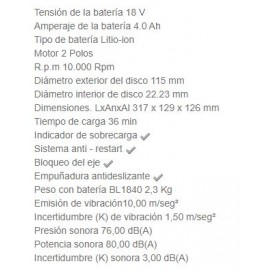 Amoladora DGA452RME 115MM 18V 4AH Makita