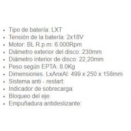 Amoladora Batería DGA901KU1 230MM 2X18V Makita