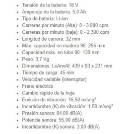 Sierra Sable DJR187RTE 18V+Bat 5AH+Maletín Makita